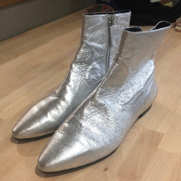 size 40 best selling newest collection Zara Shoes | Silver Flat Vegan Leather Booties | Poshmark
